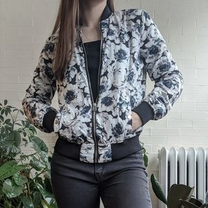 Forever 21 Floral Bomber Jacket Small